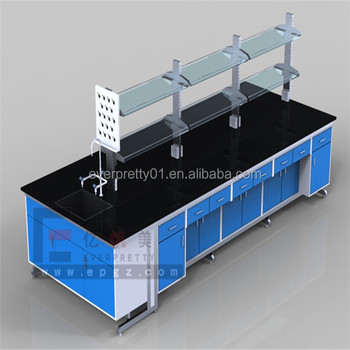 School Furniture Double Side Lab Table Chemical Lab Centre Table