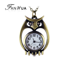 New style cute fashion jewelry Antique owl watch necklace