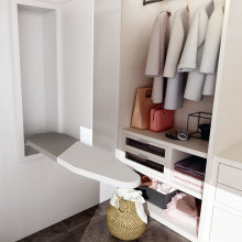 Wooden Wall Mount Folding Ironing Board in Cabinet with clothes rack