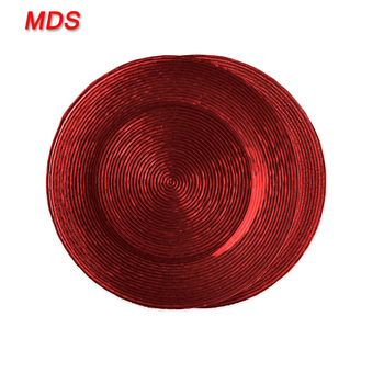 Elegant waved turkish red clear glass charger plates