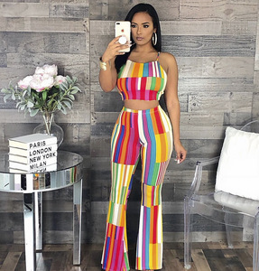 Fashionable Ladies Sexy colorful two pieces wide-leg pant suit FM-J5013