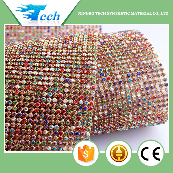 A grade Iron on Rhinestone mesh hot fix rhinestone sheet crystal for decoration
