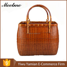 The Chinese Style Woman Package Rattan Braided Bag Bamboo Straw Basket