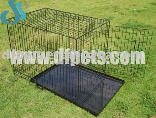Metal Dog Crate With Tray and Two Doors