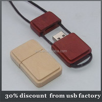 hot sale necklace usb dirve bulk 32GB wooden usb 2.0 flash drive