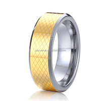 wholesale latest new design jewelry 18k gold plating bicolor tungsten carbide wedding band promise rings for men and women