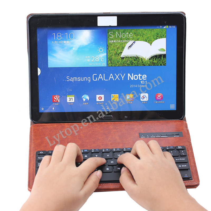 Hot Sales Bluetooth Keyboard Ultra Slim Light Folding Cover Case BOOK Cover For Samsung Galaxy Note 10.1 2014 Edition P600