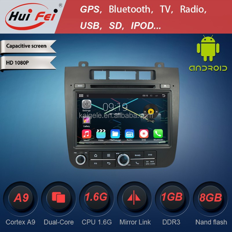 Huifei Android 4.4.4 Resolution 1024*600 Capacitive Touch Screen Cortex A9 Dual Core Gps Navigation Cd For Touareg