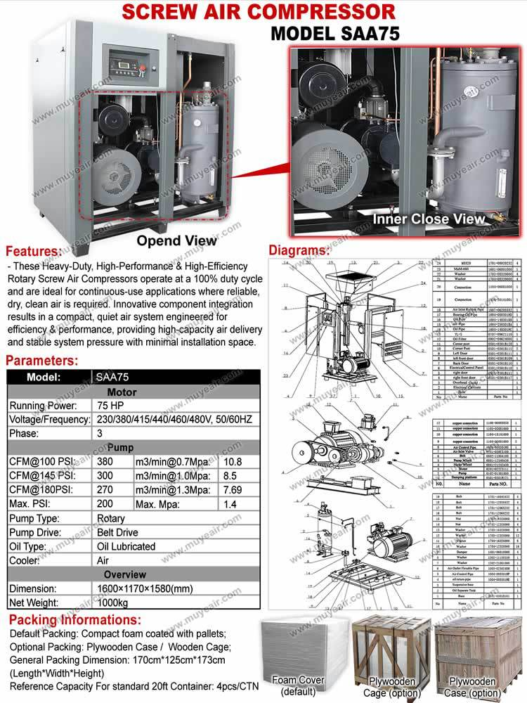 Industry 55KW=75HP Screw Compressor+Air dryer+Filters