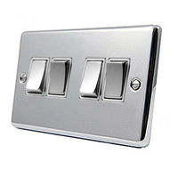Light Switch 4 Gang Polished Chrome - Classic - White - Metal Rocker Switches - 10 Amp 4 Gang 2 Way