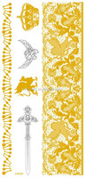 V4630/Water transfer stock goods necklace flash metallic temporary tattoo sticker with crown,anchor