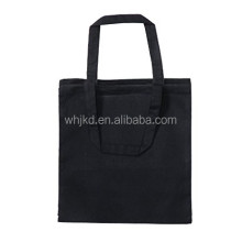 Flat No Gusset Black Canvas Tote Bag