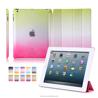 Factory Outlet Smart Rainbow Color PU Leather Cover Folio Stand case for iPad