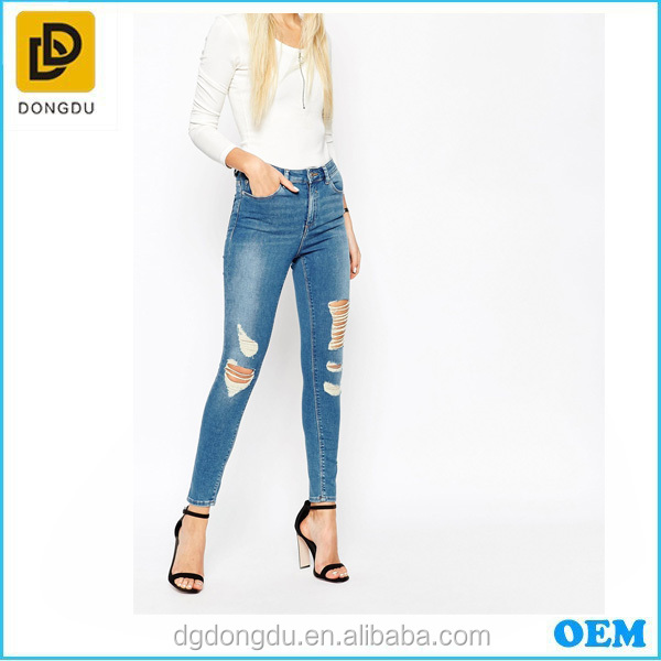 Wholesale Cheap High Quality Women High Waist Jeans /Women Pants /Trousers Ripped Frayed And Shred Skinny Jeans
