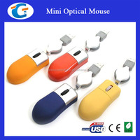 wired retractable cable mini optical mouse