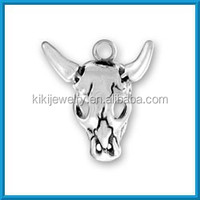 ANTIQUE SILVER OX HEAD SKULL CHARM