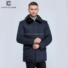16802 Fashion Warm Mens Thickness Mink Fur Collar Jacket Coats New Style Casual Polyester Long Winter Coat
