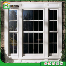 Grill Design American Style UPVC Vertical Sliding Window Top Hung Vinyl Windows with Iron Window Grill Designs