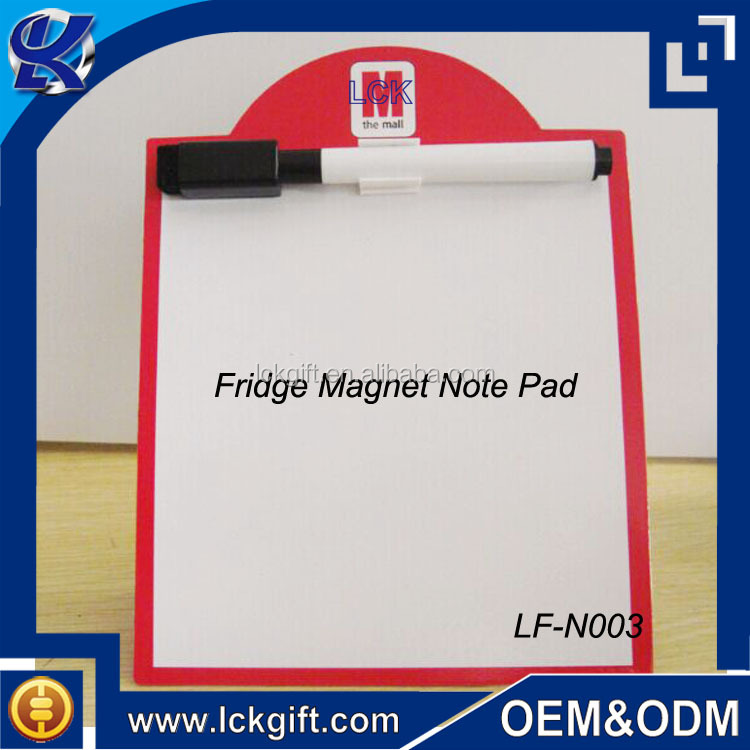 Custom decorative refrigerator magnet memo board with pen