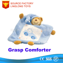 Oem Manufacture Plush Comforters Kids Novelty Toys peluche Blue Graduation Bear Comforter Security Blanket