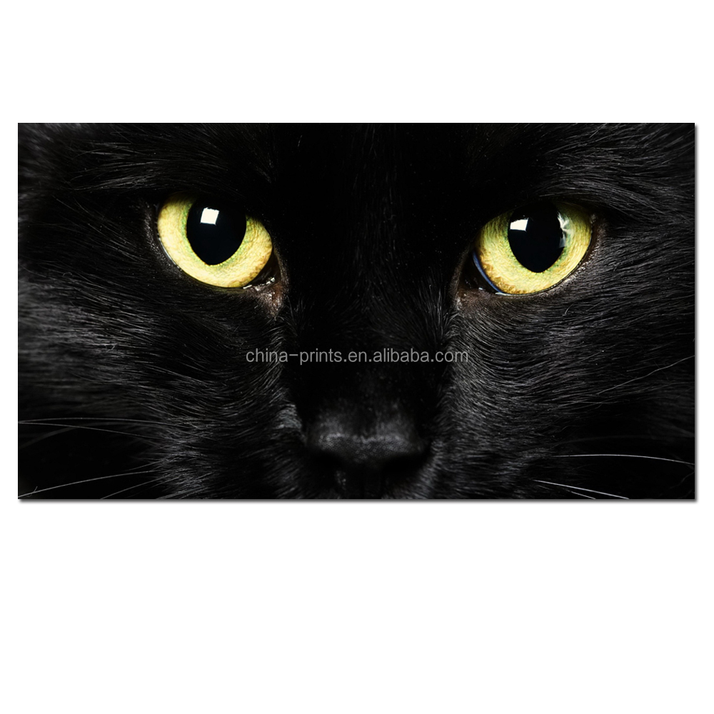 Custom Stretched Canvas The Eye of Black Cat Canvas Photo Printing Artistic Animal Picture Printed on Canvas Home Decor