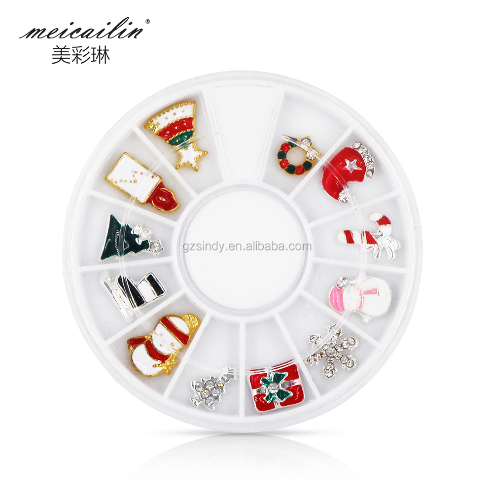 Alloy 3D Nail Art Stickers Rhinestone Snowflakes Christmas Decorations Charms DIY Jewelry Metal Nail Art Wheel