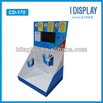 pop small cardboard counter top display with lcd digital counter display