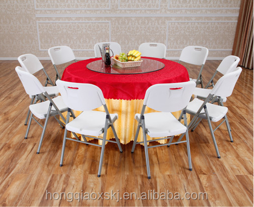 5ft 10 seat cheap white round plastic folding table for banquet/wedding/hotel/restaurant/rental