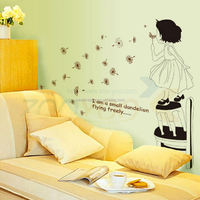 I am small flying Dandelion wall decal Art715 decorative adesivo de parede removable pvc wall sticker