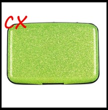 Hot Selling Glitter Bling Aluminum RFID Blocking Credit Card Holder Slim Wallet Card Case