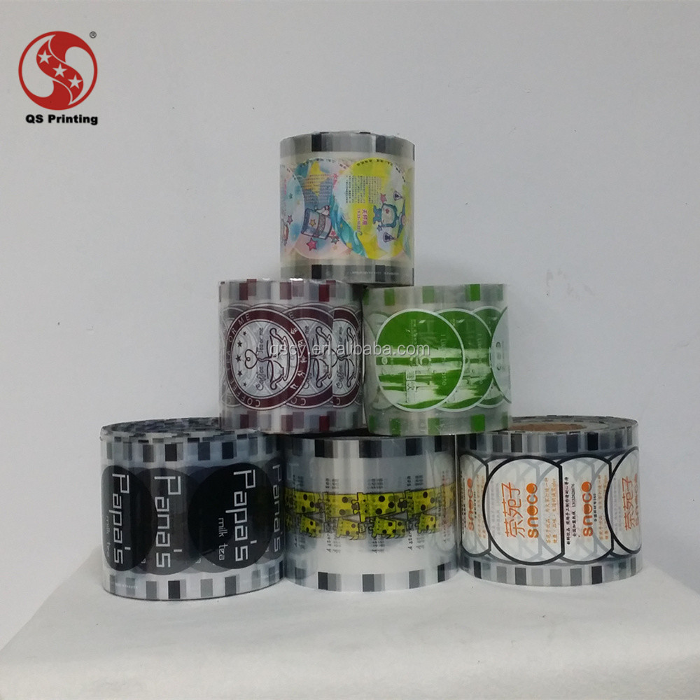 milk tea packaging cup sealing film roll with laminated BOPP/PET/PE material