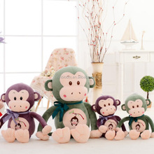 2016 plush monkey with gift ribbon suitable for the selling and party useful .