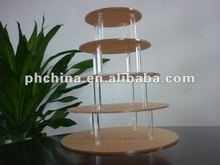 MA841 5Tier 5mm Thick Round Maypole Clear Acrylic Wedding Party Fairy Cupcake Display Stand; Acrylic Cupcake Stand
