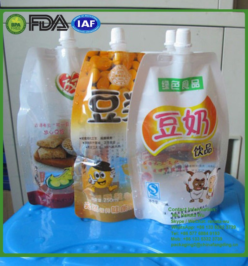 Stand Up Food Spout Pouch/Spout Juice Bag/stand up pouch with spout