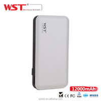 Alibaba new products external battery charger mobile power bank piano finishing ABS/PC wst power bank 12000mah