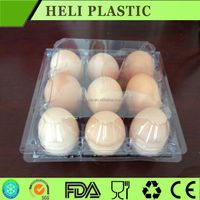 Disposable plastic 9 holes egg packaging box hot sale