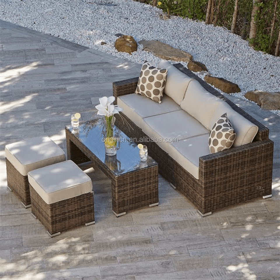 American style outdoor sitting chair and coffee table furniture garden wicker rattan fabric color combinations for sofa set
