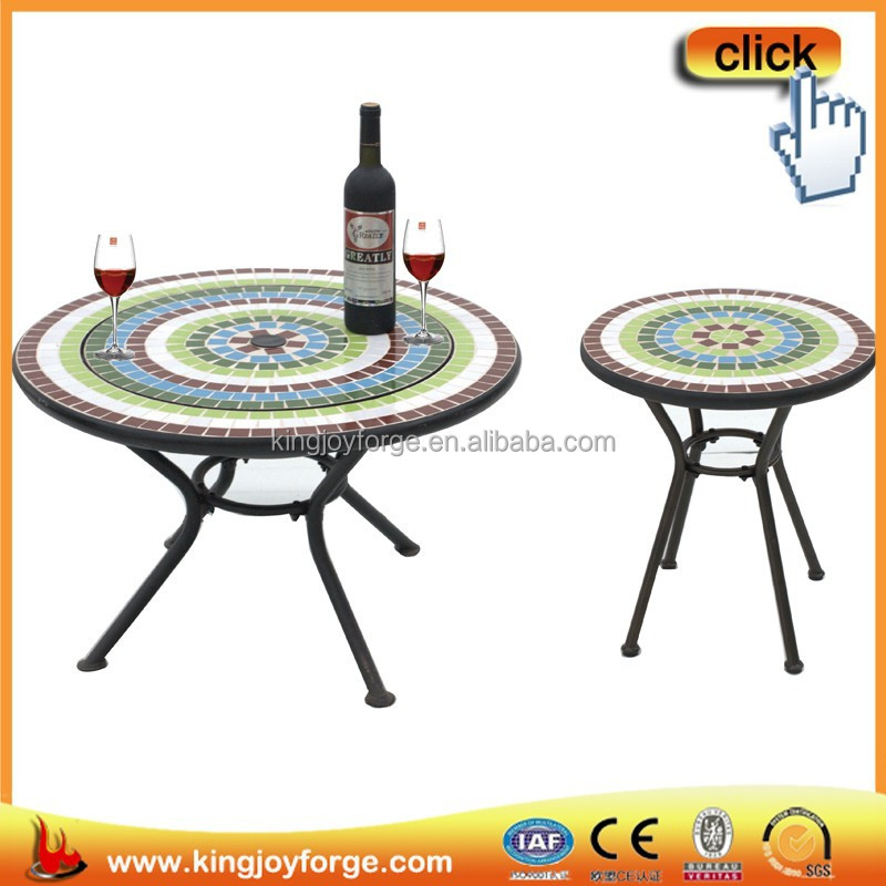 "24"" bistro tile top dining table with folding chair"