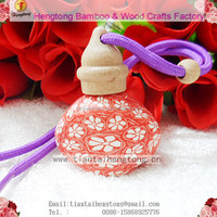 Car perfume hangings polymer clay bottle Aromatherapy oil bottle with beech wood cover