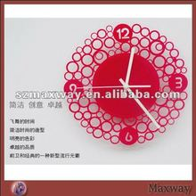 Ingenious popular red plexiglass wall clock