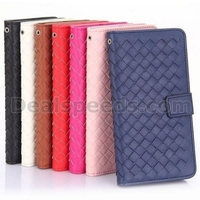 Woven Pattern Wallet Style Flip Stand PC+PU Leather Case For iPhone 6 6S