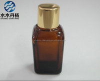 Wholesale amber square essential oil glass bottle with metal screw lids