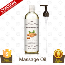 OEM Natural and Organic Sweet Almond Oil 400ml.Body and Hair Massage Oil Factory Supply
