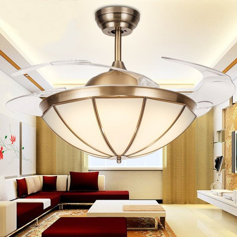 led light crystal ceiling fan / invisible blade ceiling fan light/remote for ceiling fan