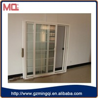 French style pvc interior tempered/frosted glass office doors with grill design