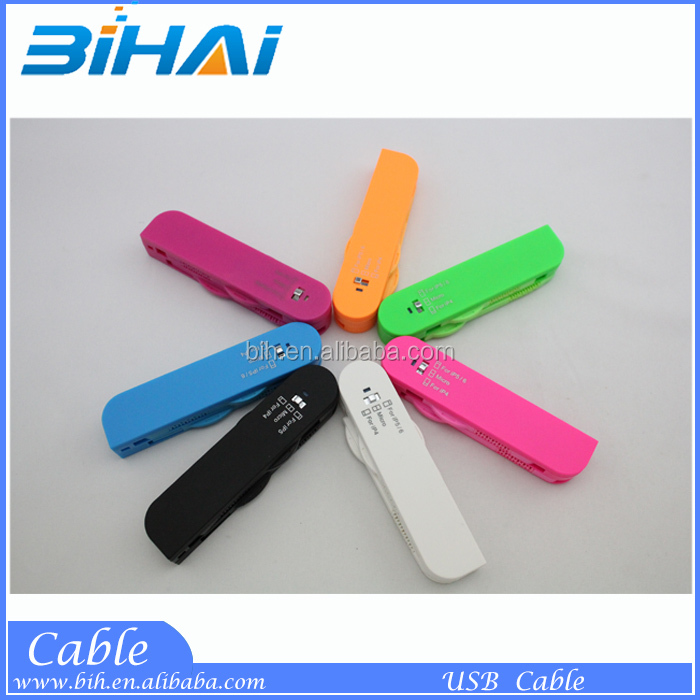 Multifunctional Charger Cable Swiss Army Knife Style Charger 3 In 1 USB Data Cable