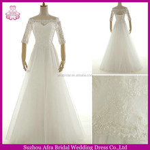 SW776 half sleeve floor length off the shoulder wedding dresses with sleeves