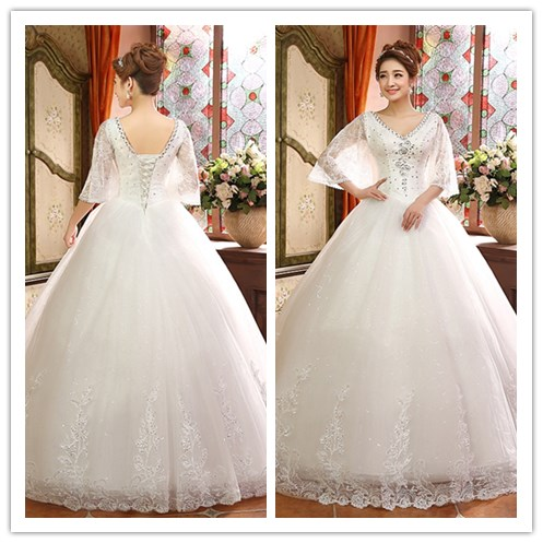 2017 Modern Appliques White Ball Gown V-Neck 3/4 Long Sleeve Bling Wedding dress bridal gown