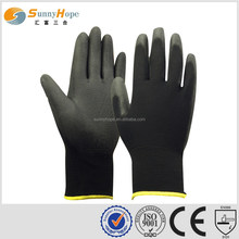 Sunnyhope palm dipped black pu coated gloves for farm