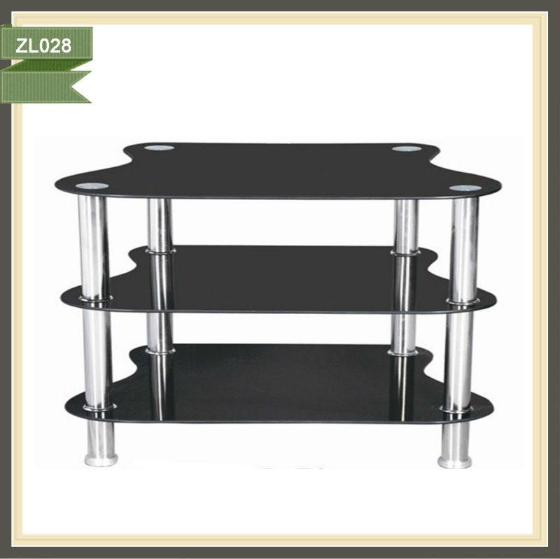 3 Tiers black glass lcd debenhams tv cabinet ZL028